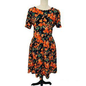 NWT LULAROE Floral Stretch AMELIA Pleated Dress w/ Pockets